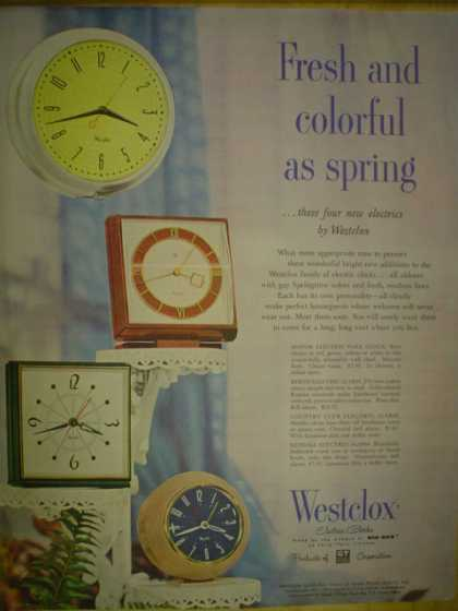 Westclox Clocks Fresh and colorful as spring (1954)