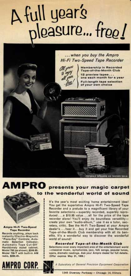 Ampro Corporation's Tape Recorder , Two Speed – A Full Year's Pleasure...Free (1956)