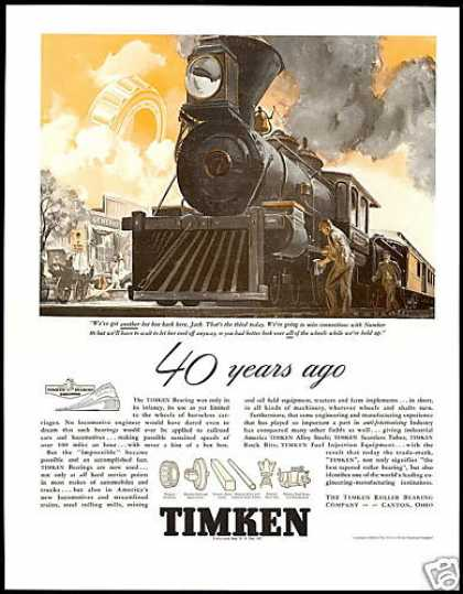 Train Locomotive Hot Box Timken Bearing (1938)