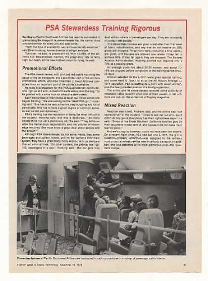 PSA Airlines Stewardess Training Photo Article (1974)
