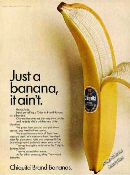 """Just a Banana It Ain't"" Chiquita Brand (1967)"