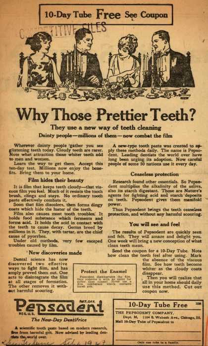 Pepsodent Company's tooth paste – Why Those Prettier Teeth? (1923)