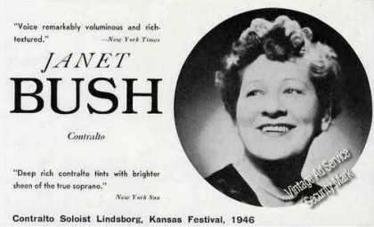 Janet Bush Photo Contralto Trade Ad Music (1946)