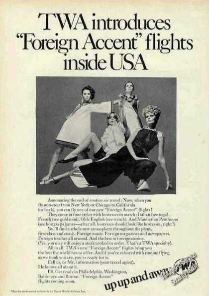 """Twa Introduces """"Foreign Accent"""" Flights In Usa (1968)"""