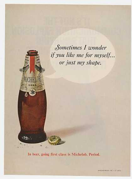 Michelob Beer Bottle Like Me or My Shape (1968)