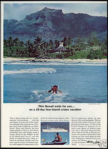 Matson Lines Cruise Wailua Beach Kauai Hawaii (1967)