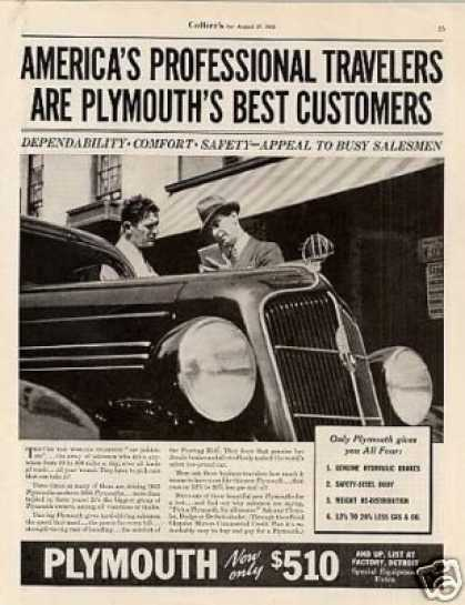 "Plymouth Car Ad ""America's Professional... (1935)"