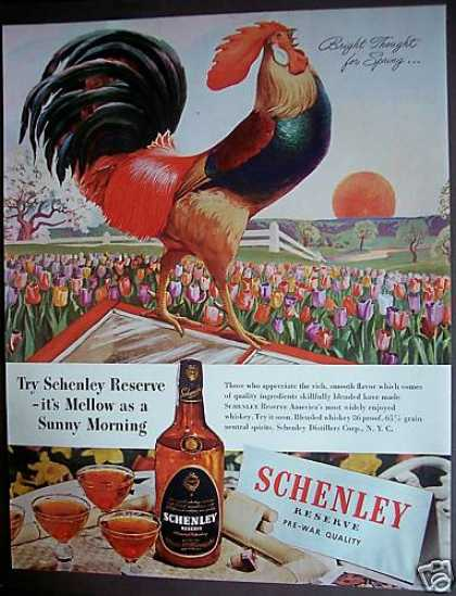 Pre-war Quality Schenley Whisky Rooster (1946)