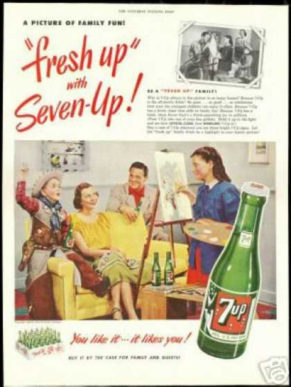Seven 7-up Family Photo Cowboy Girl Artist (1951)