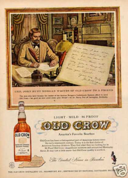 Old Crow Whiskey Ad &quot;Gen. John Hunt Morgan... (1958)