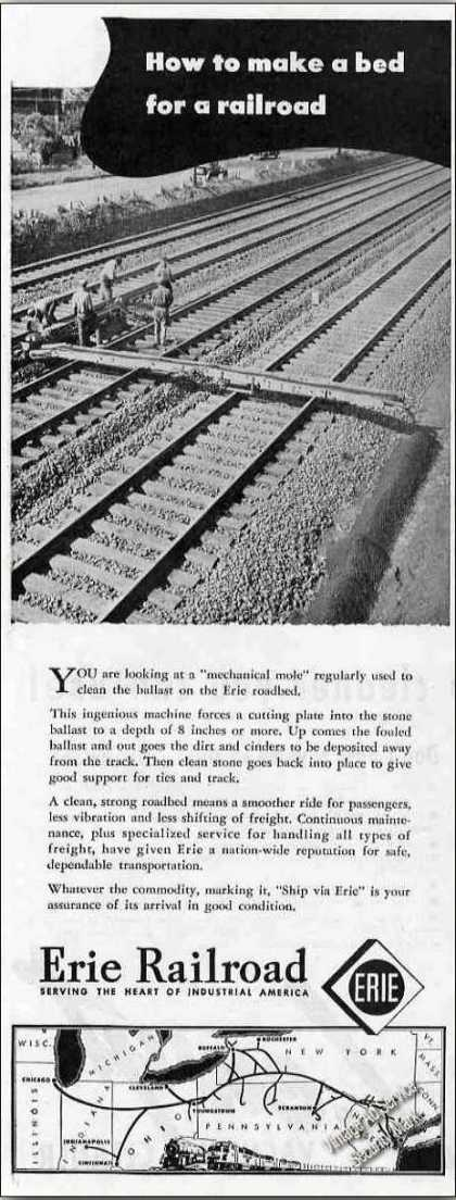 How To Make a Railroad Bed Erie Railroad Ad W/map (1947)