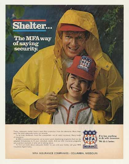 MFA Insurance Shelter Father Son in Rain (1971)
