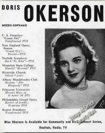 Doris Okerson Photo Recitals Radio Tv Trade (1959)