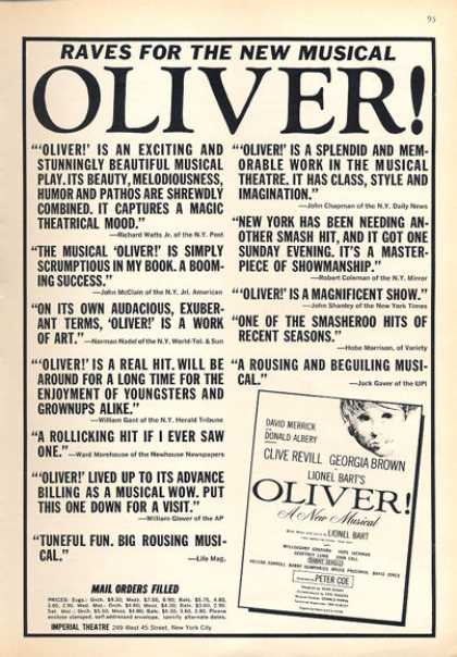 Musical Oliver Clive Revill Georgia Brown (1963)