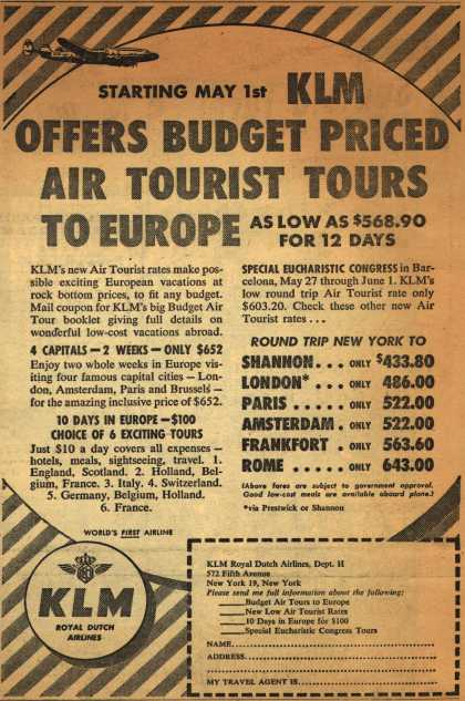 KLM Royal Dutch Airline's Europe – Starting May 1 KLM Offers Budget Priced Air Tourist Tours To Europe (1952)