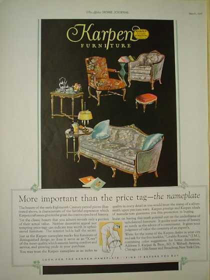 Karpen Furniture More important than price tag Namplate (1926)