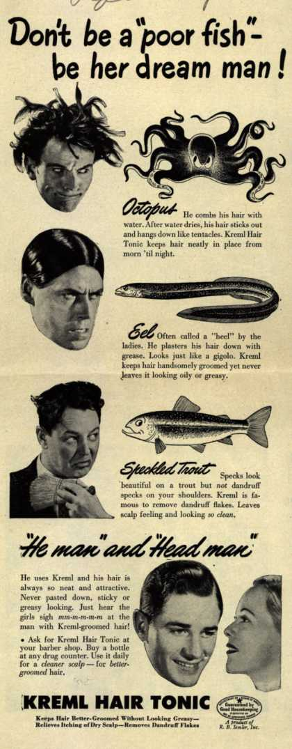 "R.B. Semler's hair tonic – Don't be a ""poor fish""- be her dream man (1946)"