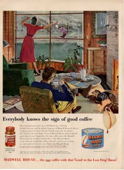 Maxwell House Coffee Daschund Dog Ad T (1951)