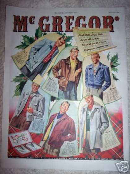 Original Ad Mcgregor Mens Fashion Xmas Carolers (1948)