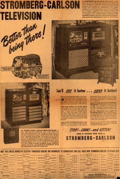 Stromberg-Carlson Television's The Westchester Television-Radio-Phonograph – Stromberg-Carlson Television Better Than Being There (1948)