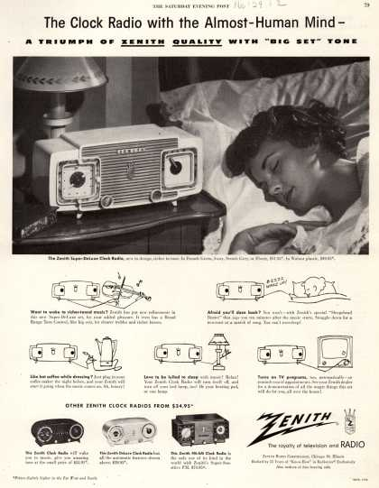 "Zenith Radio Corporation's Clock Radios – The Clock Radio with the Almost-Human-Mind – A Triumph of Zenith Quality with ""Big Set"" Tone (1952)"