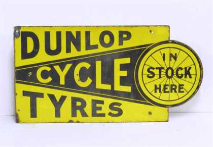 Dunlop Stock Cycle Tyres Enamel Sign