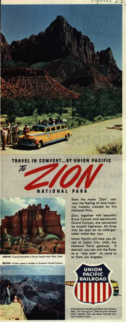 Union Pacific Railroad's Zion National Park – Travel in Comfort...By Union Pacific To Zion National Park (1950)