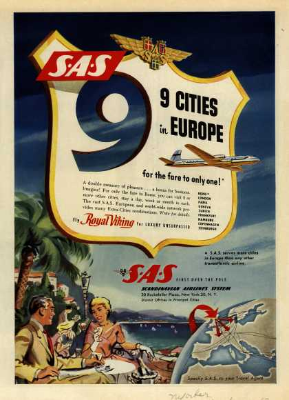 Scandinavian Airlines System – SAS 9 Cities in Europe for the fare to only one (1953)