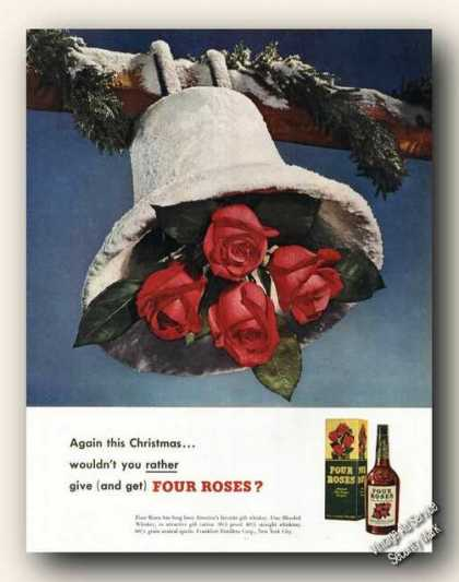 Four Roses Snow Covered Bell Antique (1949)