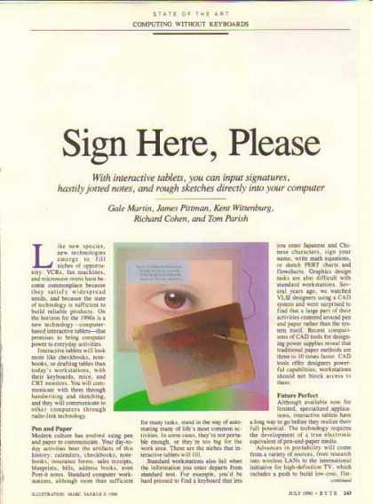 Computer Interactive Tablets – Sign Here, Please Article (1990)
