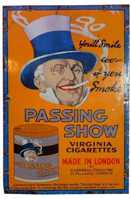Carreras Passing Show Cigarettes Enamel Sign