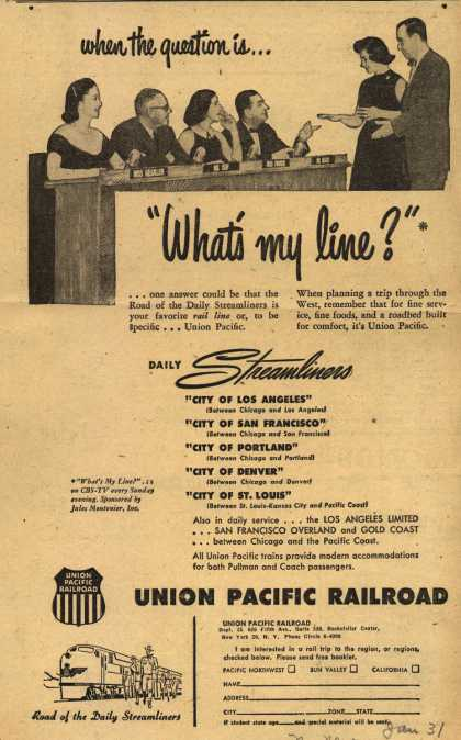 "Union Pacific Railroad's Streamliners – when the question is...""What's my Line?"" (1952)"