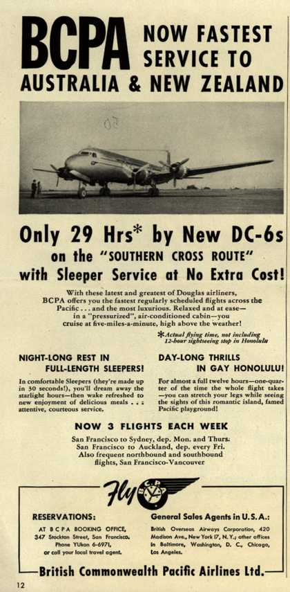 British Commonwealth Pacific Airlines, Limited's Australia and New Zealand – BCPA Now Fastest Service to Australia & New Zealand (1949)