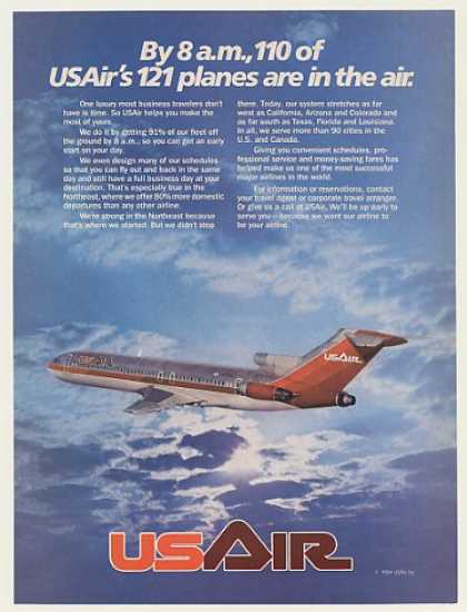 USAir US Air Airlines Jet Plane in Air by 8 AM (1984)