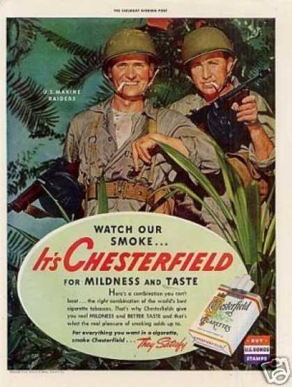 Chesterfield Cigarettes Ad U.s. Marine Raiders (1943)