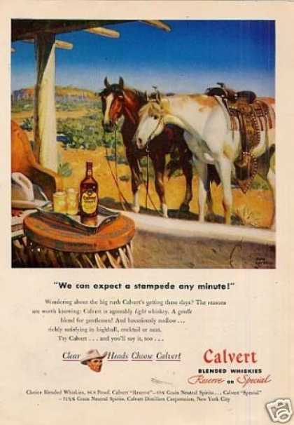 Calvert Whiskey Ad Tom Lovell Art (1947)