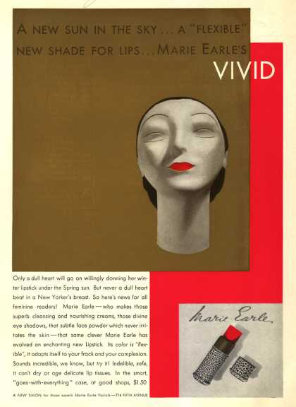 "Marie Earle's Vivid Lipstick – A New Sun In The Sky...A ""Flexible"" New Shade For Lips...Marie Earle's Vivid (1932)"