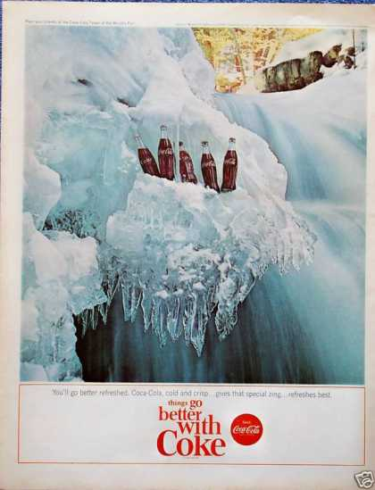 Coca Cola Coke Frozen Waterfall Ice Bottles (1964)