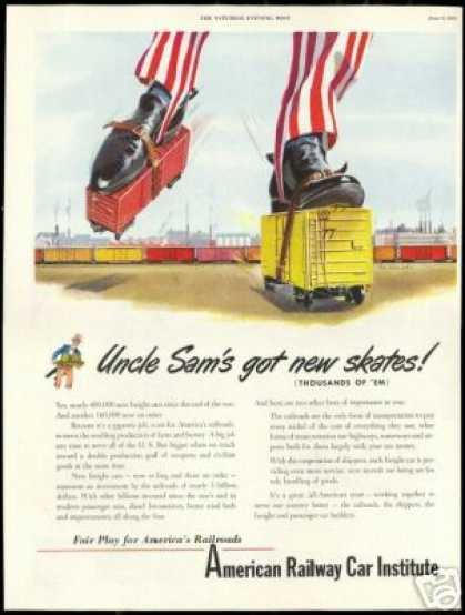 Uncle Sam Train Railroad Skate American Railway (1951)