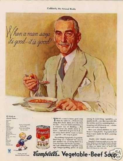 "Campbell's Vegetable Beef Soup Ad ""When a Man... (1935)"