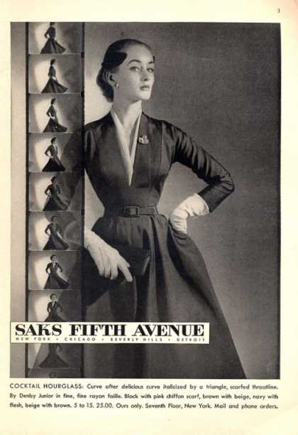 Saks Fifth Ave Cocktail Hourglass Dress (1952)