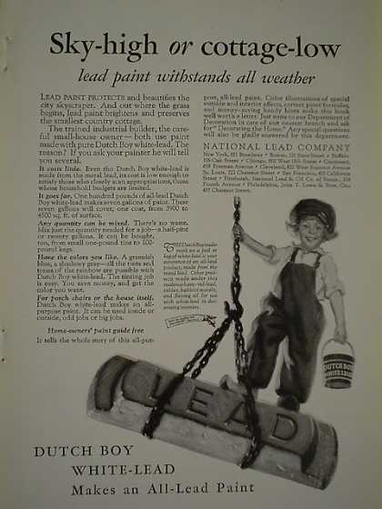 Dutch Boy White Lead Sky high or cottage low all weather (1926)