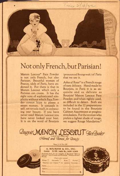 Bourjoi's Manon Lescaut face powder – Not only French, but Parisian (1922)