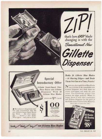 Gillette Razor – ZIP! Quick as a Wink – Sold (1948)