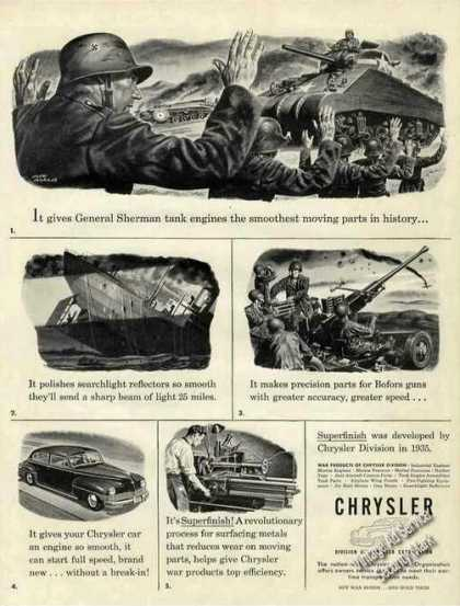 Sherman Tanks Art Chrysler Superfinish Wwii (1944)