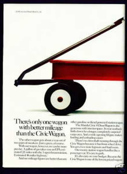 Honda Civic Wagon C 2 Page Ad W Little Red Wagon (1982)