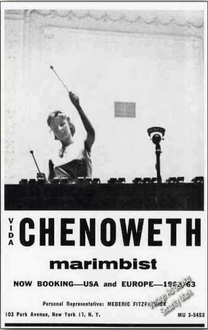Vida Chenoweth Photo Marimbist Booking (1962)