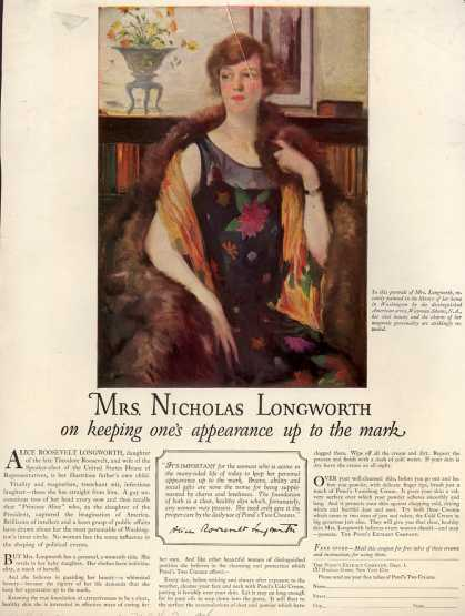 Pond's Extract Co.'s Pond's Cold Cream and Vanishing Cream – Mrs. Nicholas Longworth on keeping one's appearance up to the mark (1925)