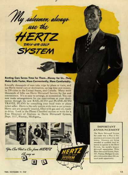 Hertz's Driv-Ur-Self System – My salesmen always use the Hertz Driv-UR-Self System (1947)