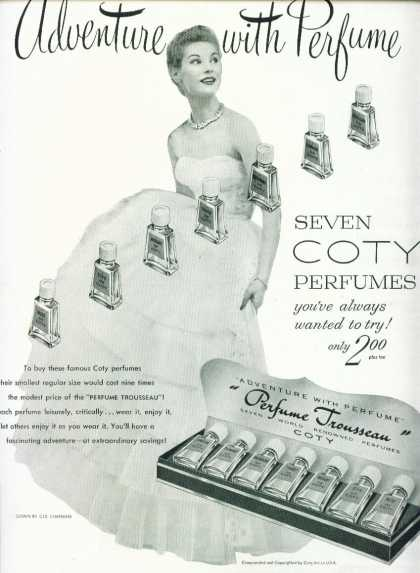 Coty Perfume Trousseau Ad Seven Coty Perfumes (1952)